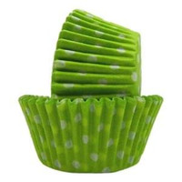 MINI Size Lime Green with White Polka Dot Baking Cups