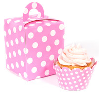 Hot Pink and White Polka Dot Cupcake Wrapper & Box Kit