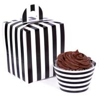 Black and White Striped Cupcake Wrapper & Box Kit