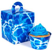 Blue Lightning Cupcake Wrapper & Box Kit