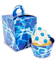 Blue Lightning Cupcake Boxes