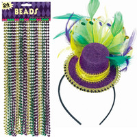 Mardi Gras Headband & Beads Accessory Bundle