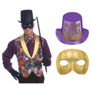 Mardi Gras Jester Hat & Bead Accessory Bundle