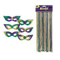 Mardi Gras Party Masks & Beads Accessory Bundle