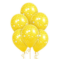 Yellow with Large White Stars Matte Balloon