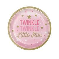 """Twinkle Twinkle Little Star Pink 7"""" Dessert Plates (8)"""