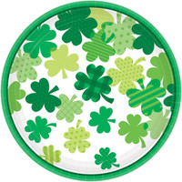 "St. Patrick's Day Blooming Shamrocks 9"" Paper Dinner Plates"