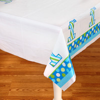 1st Birthday Boy Sweet Stripes Plastic Tablecover