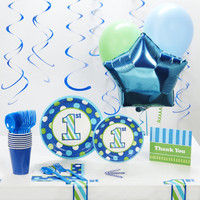 1st Birthday Boy Sweet Stripes Deluxe Party Pack