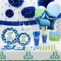1st Birthday Boy Sweet Stripes Super Deluxe Party Pack