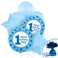 1st Birthday Boy Sweet Stripes Balloon Bouquet