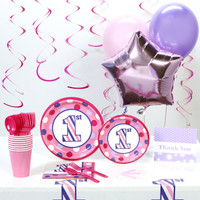 1st Birthday Girl Sweet Stripes Deluxe Party Pack