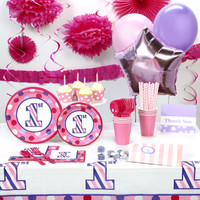 1st Birthday Girl Sweet Stripes Super Deluxe Party Pack