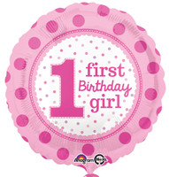 1st Birthday Girl Foil Balloon