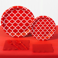 Classic Red Quatrefoil Party Pack