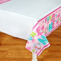 Fun at One Girl Plastic Tablecover