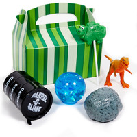 "Jurassic World Filled Favor Box includes: Green Striped Empty Favor Box, Splat Rock,Black Barrel of Slime, 2"" Dinosaur Lollipop,Small Toy Dinosaur, Blue Glitter Bouncy Ball. Any item(s) that may be out of stock will be replaced by item(s) with similar quality."