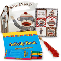 Sock Monkey Red Filled Party Favor Box