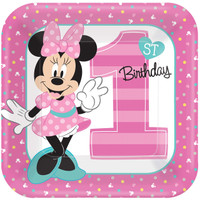 Disney Minnie Mouse 1st Birthday Dinner Plates (8)