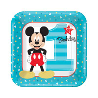 Disney Mickey Mouse 1st Birthday Dessert Plates (8)