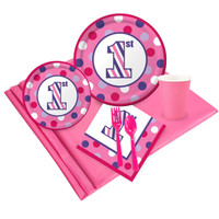 1st Birthday Girl Sweet Stripes Party Pack for 24
