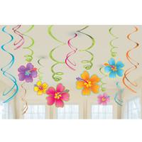 Luau Flowers Hanging Swirls Value Pack