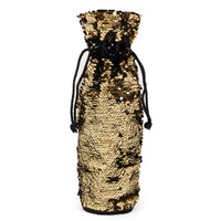 Gold & Black Reversible Sequin Wine Bag
