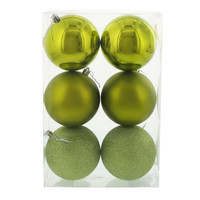 Bright Green 100mm Ball Ornament Set (6)