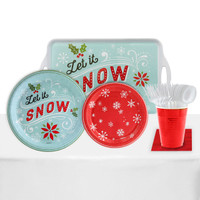 Let It Snow! 24 Guest Party Pack + Melamine Tray