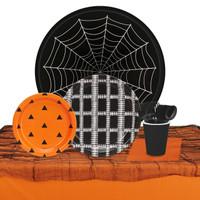Halloween Black, Orange & White 32 Guest Tableware Kit