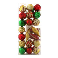 Red, Green & Gold Assorted Ornament Set (42)