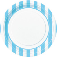 Powder Blue Stripe Dinner Plates
