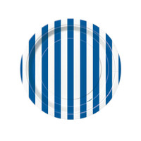 Royal Blue Stripe Dessert Plates