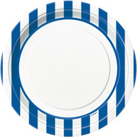 Royal Blue Stripe Dinner Plates