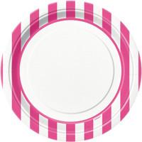 Hot Pink Stripe Dinner Plates