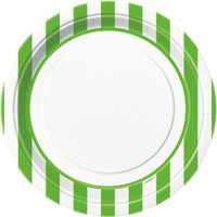 Lime Green Stripe Dinner Plates