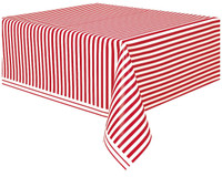Red Stripe Plastic Tablecover