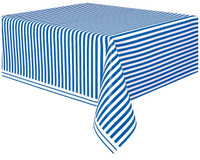 Royal Blue Stripe Plastic Tablecover