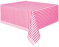 Hot Pink Stripe Plastic Tablecover