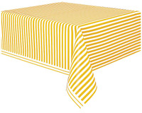 Yellow Stripe Plastic Tablecover