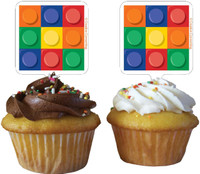 Building Block Party Cupcake Toppers