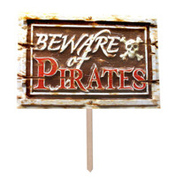 Beware Of Pirates 3D Yard Sign
