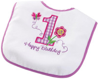 Girl's 1st Birthday Bib