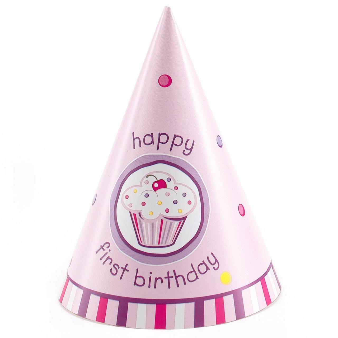 Girls Lil Cupcake 1st Birthday Cone Hats