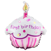 Girl's Lil' Cupcake 1st Birthday Foil Balloon