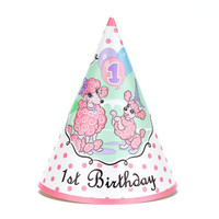 Pink Poodle in Paris 1st Birthday Cone Hats