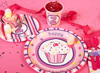 Girl's Lil' Cupcake 2nd Birthday Party Packs