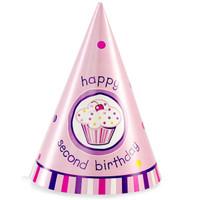 Girl's Lil' Cupcake 2nd Birthday Cone Hats