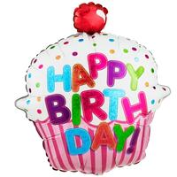 Happy Birthday Pink Cupcake Jumbo Foil Balloon