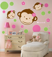 Pink Mod Monkey Giant Wall Decals